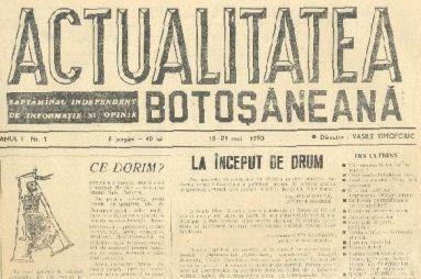 ACTUALITATEA BOTOȘĂNEANĂ – 25 de ani pe baricadele presei independente