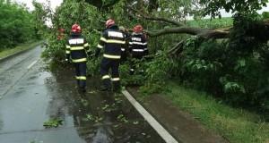 Pompierii militari și voluntari au fost solicitați să intervină în șase situații de urgență generate de vântul puternic